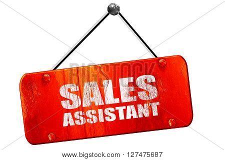 sales assistant, 3D rendering, red grunge vintage sign
