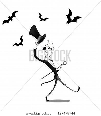 Fun character dancing skeletons with cane and cylinder. Halloween cartoon concept. Layered vector illustration