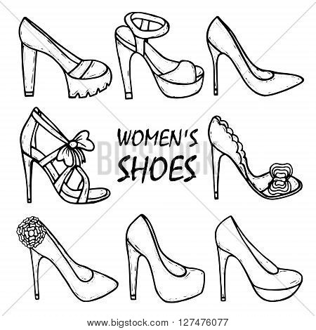 Beautiful hand drawn women's high heel shoes sandals. Fashionable women's shoes. Beauty trend. Sketch illustration. Vector isolated objects.