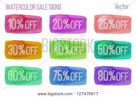 Set of sale signs on abstract watercolor paint strokes isolated over white background. Hand painted multicolored horizontal banners. Colorful vector template. Marketing concept.