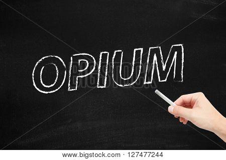 Opium written on a blackboard