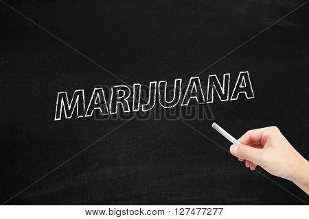 Marijuana written on a blackboard