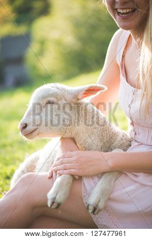 Close up image of cute, young lamb taking care by farmer woman. Happy woman smiling and holding a cute lamb.