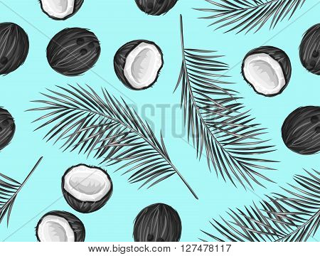 Seamless pattern with coconuts. Tropical abstract background in retro style. Easy to use for backdrop, textile, wrapping paper, wall posters.