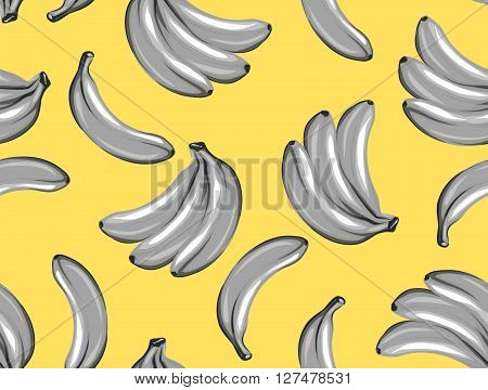 Seamless pattern with bananas. Tropical abstract background in retro style. Easy to use for backdrop, textile, wrapping paper, wall posters.