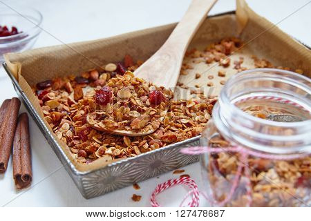 Homemade cinnamon granola, muesli with almond and cranberry in a baking pan.