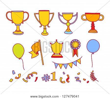 Vector doodle winner sketch. Hand drawn colorful objects of success. Trophy cup flag ballons ribbon flag confetti. Great for kids design