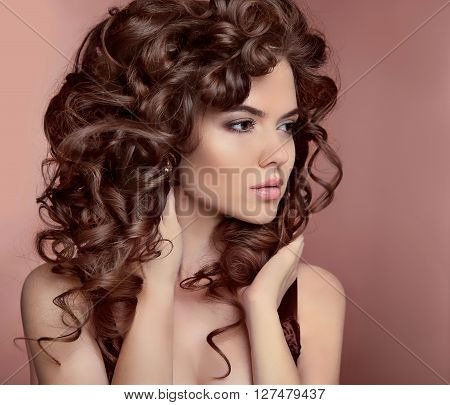 Wavy Hair. Beautiful Girl With Makeup. Curly Hairstyle. Brunette. Expressive Eyes Stare. Fashion You