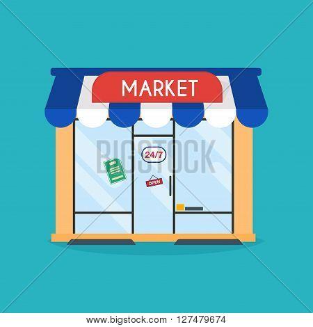 Market Shop Facade. Vector Illustration Of Market Building. Ideal For Market Business Web Publicatio