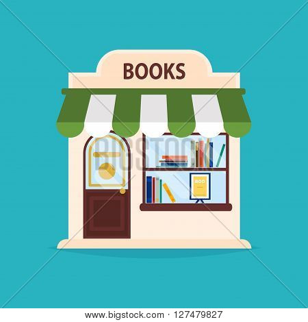 Books Shop Facade. Vector Illustration Of Books Shop Building. Ideal For Books Shop Business Web Pub