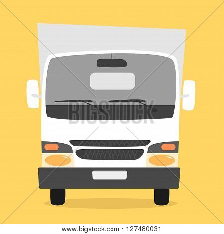 Cargo truck. Cartoon vector illustration. Moving van. Moving truck. Isolated on yellow background. Cartoon truck. White truck. Delivery of cargo