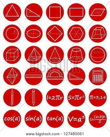 Set of geometry icons. Science basic education. Flat style. Vector illustration.