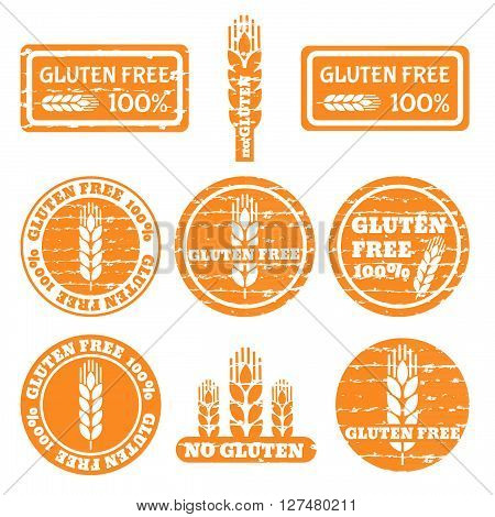 Set of grunge stamps with allergen icons. Gluten free icons . Vector illustration