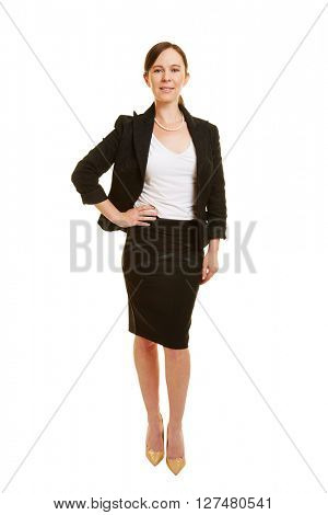 Full body shot of attractive businesswoman isolated on white background