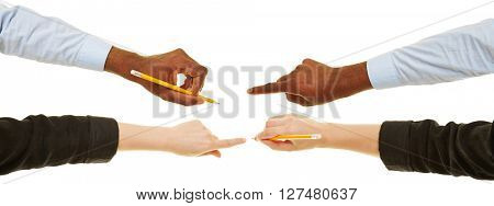Hands of man and woman writing with pen and pencil