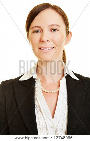 Head shot of attractive smiling business woman