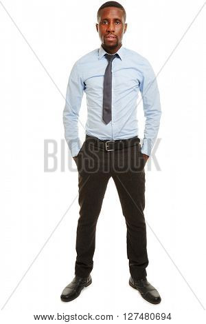 Full body shot of african business manager in a blue shirt