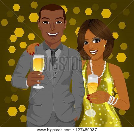 Corporate party. African american business man and elegant woman celebrate with wine glasses in their hands