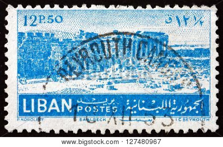 LEBANON - CIRCA 1952: a stamp printed in Lebanon shows Ruins at Baalbek circa 1952