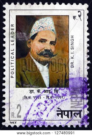 NEPAL - CIRCA 1997: a stamp printed in the Nepal shows Dr. K. I. Singh Political Leader circa 1997