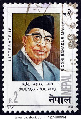 NEPAL - CIRCA 1997: a stamp printed in the Nepal shows Riddhi Bahadur Malla Writer circa 1997