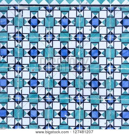 Blue azulejos on the building's exterior
