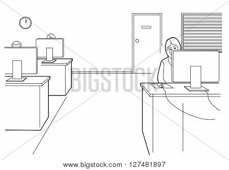 Cartoon business. Woman work in open office. Black vector illustration isolated on white background.