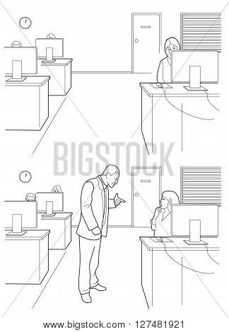 Cartoon business. Boss angry and woman afraid. Black vector illustration isolated on white background.