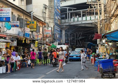 BANGKOK, THAILAND, February 16, 2015: View on the Sukhumvit Soi 38, famous place of street food in the Thong Lor district in Bangkok, Thailand