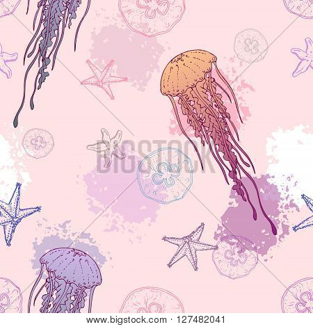 Seamles pattern with Jellyfish. Background with marine life. Vector