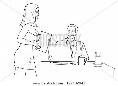Man looking man looks at a woman in front office. Black vector illustration isolated on white background