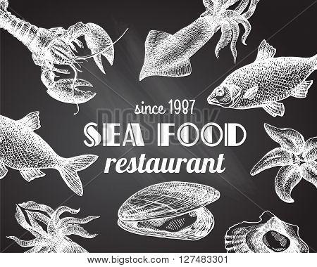 Beautiful hand drawn vector illustration sea food. Sea food engraving  style. Seafood menu.