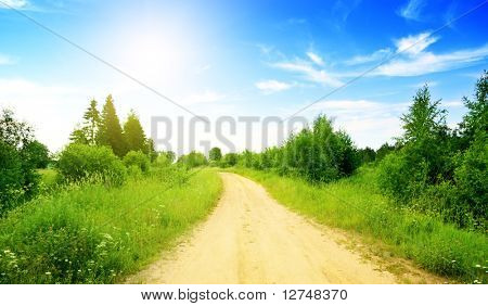 road from sand and perfect summer day