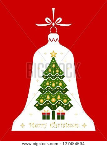 vector christmas tree and gifts in christmas bell isolated on red background