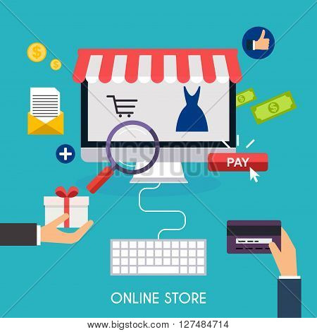 E-commerce, Electronic Business, Online Shopping, Payment, Delivery, Shipping Process, Sales. Infogr