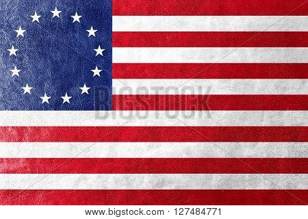 Betsy Ross Flag, Painted On Leather Texture