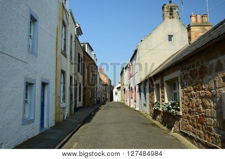 A view along a narrow street in the fishing village of St. Monans