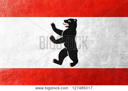 Flag Of Berlin, Painted On Leather Texture