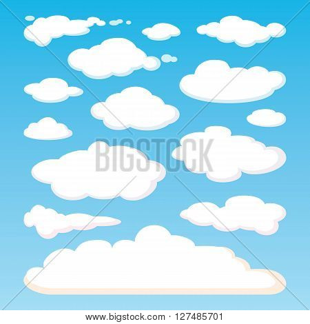Pattern of white clouds isolated on blue sky background. Set of realistic clouds of different shapes. Great collection of cloudscape elements. Heaven pattern. Meteorology. design illustration