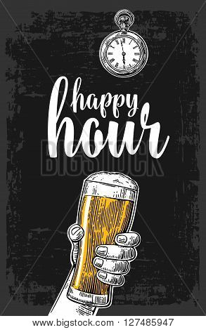 Male hand holding a beer glass. Vintage vector engraving illustration for label poster menu. Isolated on dark background. Happy hour.