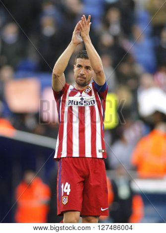 BARCELONA - APRIL, 9: Gabi Fernandez of Atletico Madrid during a Spanish League match against RCD Espanyol at the Power8 stadium on April 9, 2016 in Barcelona, Spain