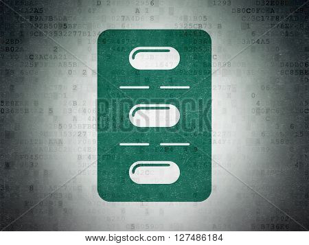 Medicine concept: Painted green Pills Blister icon on Digital Data Paper background