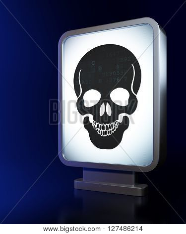 Health concept: Scull on advertising billboard background, 3D rendering
