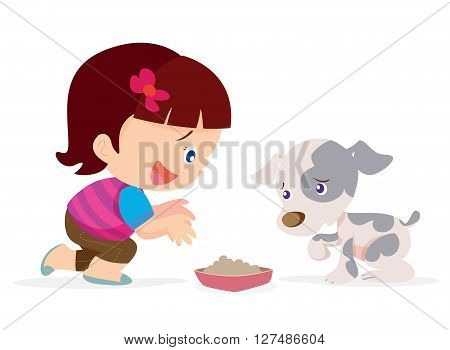 Vector illustration of Cute girl give a food for little dog.