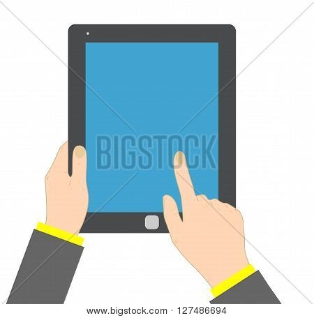 Hand touching blank screen of tablet. eps 10 vector iilustration