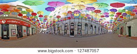 TIMISOARA ROMANIA - APRIL 23 2016: 360 Panoramic Surround with colored umbrellas in Timisoara.