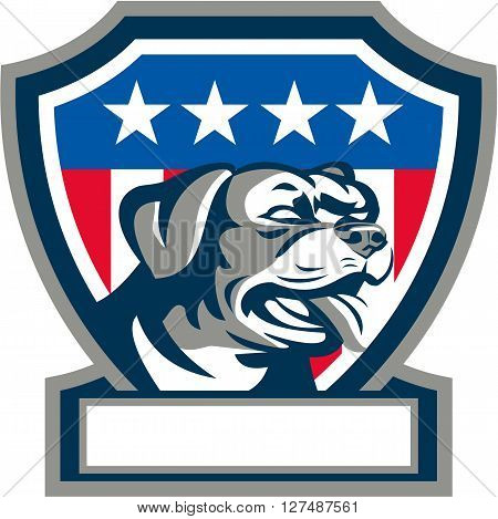 Illustration of a Rottweiler Metzgerhund mastiff-dog guard dog head looking to the side set inside shield crest with USA stars and stripes flag in background done in retro style.