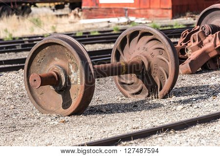 East Ely, Nevada,USA. 11th May 2015 Wheelset at Nevada Northern Railway Museum
