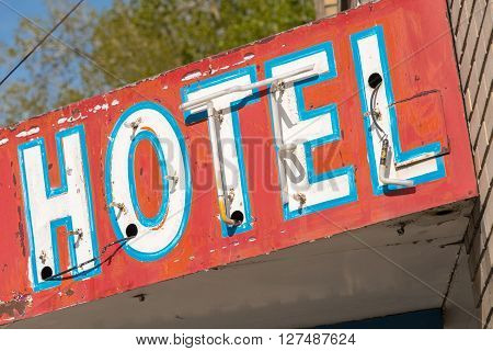 East Ely, Nevada,USA. 11th May 2015 Old neon hotel sign