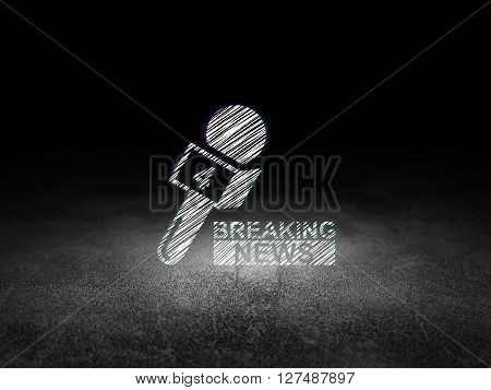 News concept: Glowing Breaking News And Microphone icon in grunge dark room with Dirty Floor, black background